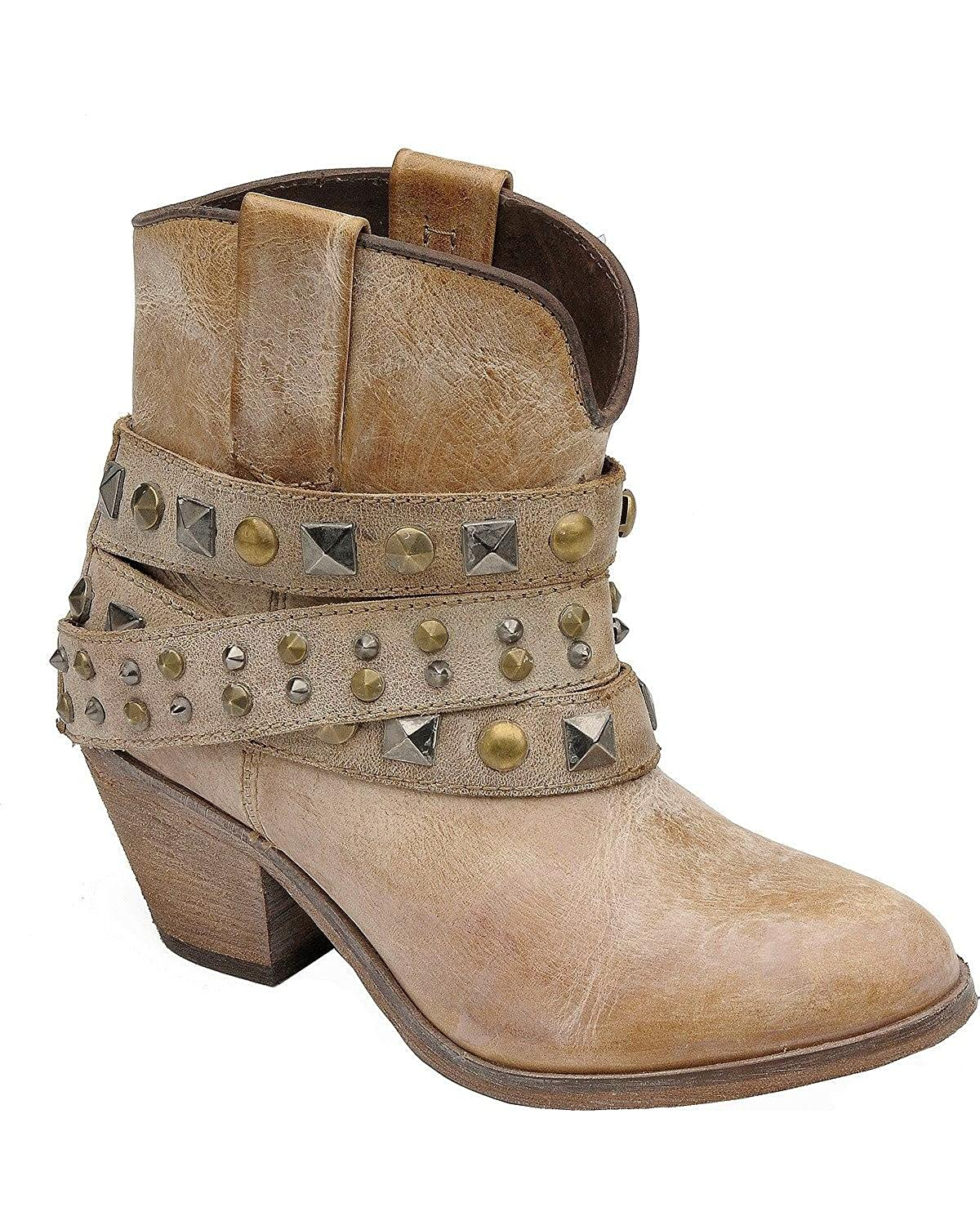 Corral Women's Studded Strap 8.5 Ankle Boot Round Toe B01FQXXVG0 8.5 Strap B(M) US|Tan 8dcf64