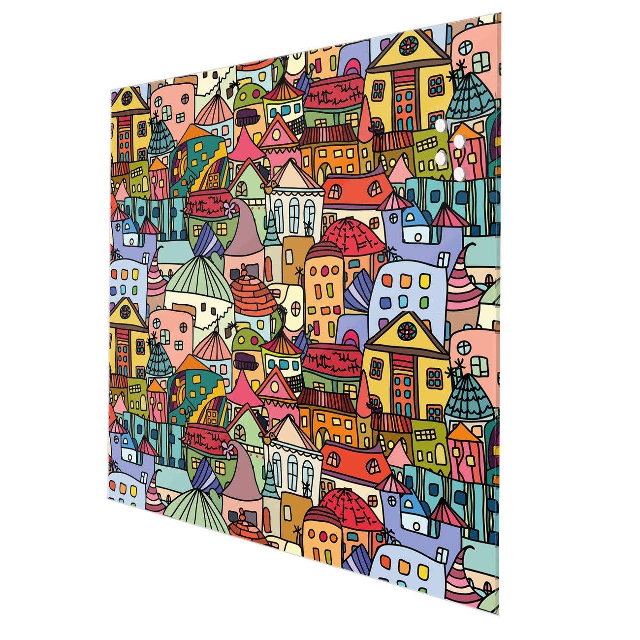 Stift Wandbild beschreibbar ohne Bohren Spritzschutz Fliesenspiegel mit Motiv Nachthimmel banjado Glas K/üchenr/ückwand selbstklebend 50x50cm gro/ß Memoboard mit 4 Magneten