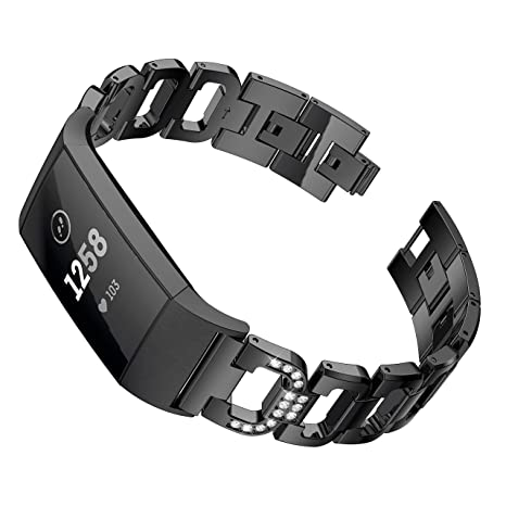 Maxjoy for Fitbit Charge 3 Bands, Charge 3 SE Metal Band Small Large  Stainless Steel Bracelet Strap Replacement Wristbands for Fitbit Charge3/  Charge3