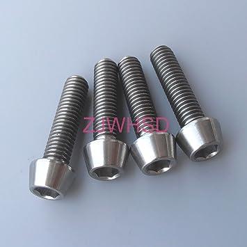 4Pcs M5X20mm Titanium Ti Screw Gr5 Allen Hex Tapered Socket Cap Head Bolts
