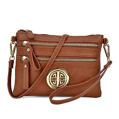 baf2f0313b3 Image Unavailable. Image not available for. Color  Multi-Zipper Soft  Crossbody, Lightweight Women Clutch Vintage Messenger Bag Small Travel Shoulder  Purse