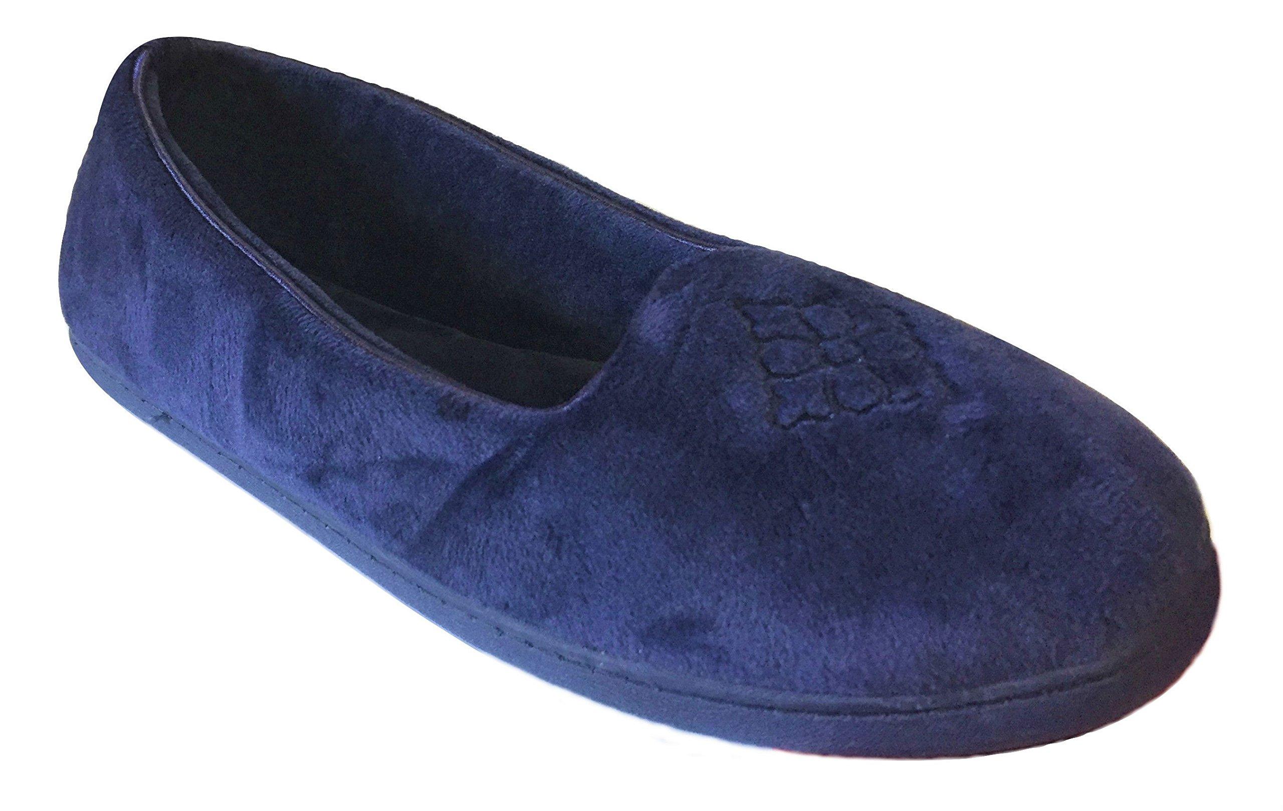 Dearfoams Women's Velour Closed Back Slippers, Large/9-10 B(M) US, Peacoat