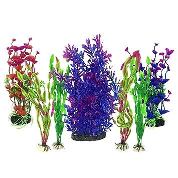 Plantas acuáticas artificiales, PietyPet 7 piezas Plantas grandes de acuario Decoraciones plásticas del tanque de peces, Planta de simulación viva Criatura ...