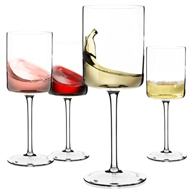 Wine Glasses, Large Red Wine or White Wine Glass Set of 4 - Unique Gift for Women, Men, Wedding, Anniversary, Christmas, Birthday - 14oz, 100% Lead Free Crystal (Clear, 14oz)