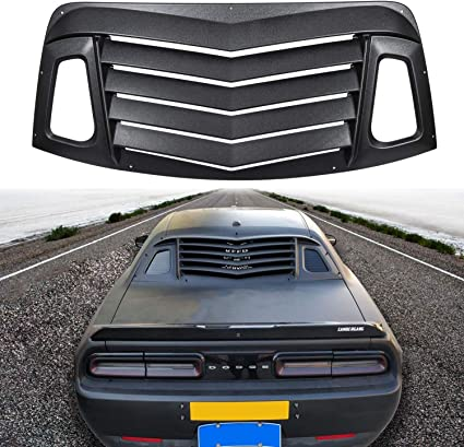 Rear Window Louvers Annbey ABS Rear Window Louvers in Matte Black Sun Shade Windshield Cover Fits for 2008-2019 Dodge Challenger