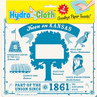 product image for Fiddler's Elbow Keen on, Kansas Hydro Cloth | Eco-Friendly Sponge Cloths | Reusable Swedish Dish Cloths | Set of 2 Printed Sponge Cloths | Replaces 30 Rolls of Paper Towels