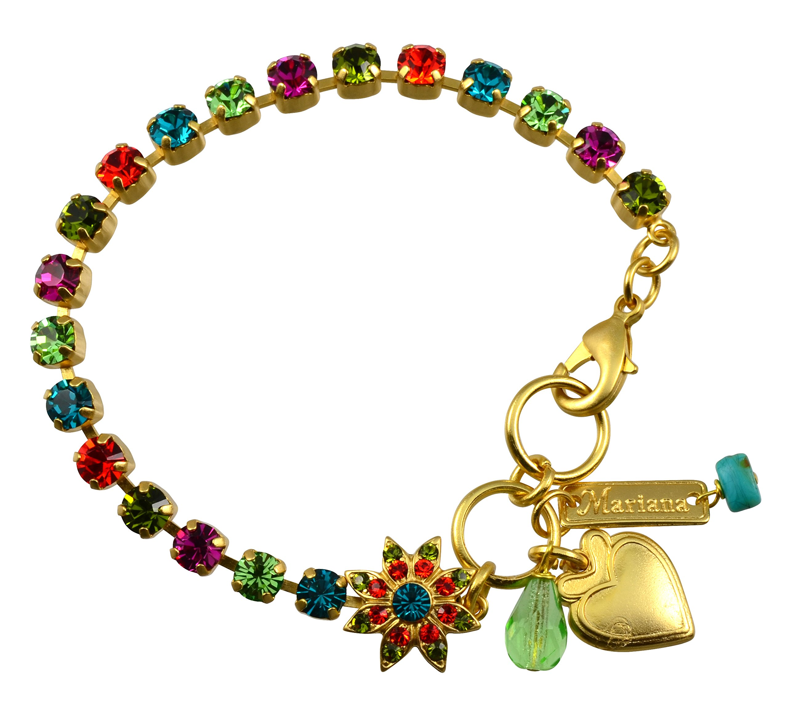Mariana ''Tiger Lily'' Gold Plated Crystal Tennis Bracelet with Flower and Heart, 8'' by Mariana