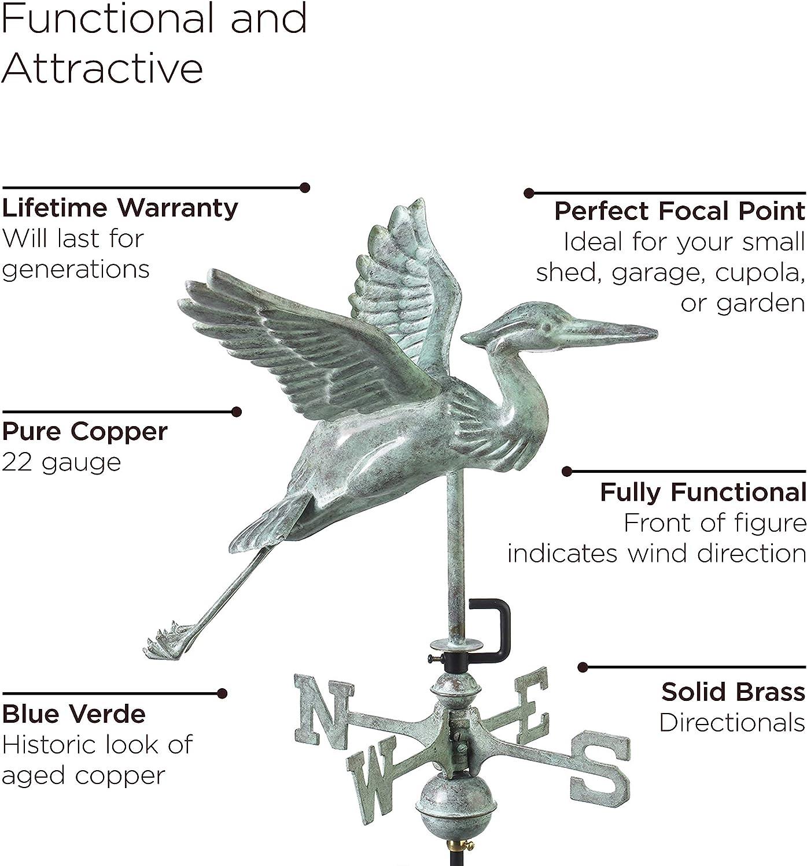 Good Directions Graceful Blue Heron Weathervane Blue Verde Copper