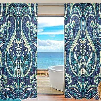 vantaso Sheer cortinas 78 pulgadas, Paisley diseño de flores para ...