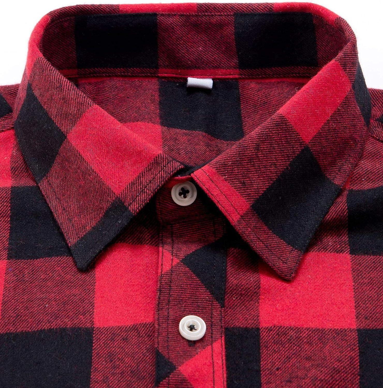 Siliteelon Camisa de franela de manga larga para hombre