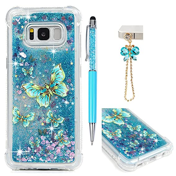 newest collection 2cebe e928a Galaxy S8 Case, Galaxy S8 Glitter Liquid Case Protective Bumper Case  Floating Bling Sparkle Quicksand Pretty Fashion Design for Samsung Galaxy  S8, ...