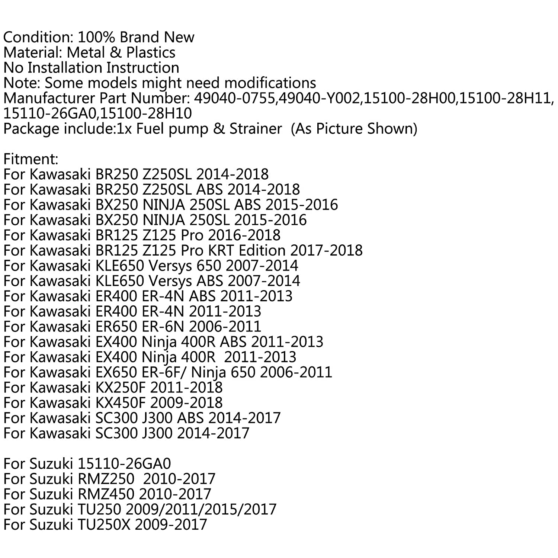 Areyourshop Bomba de combustible y coladores para Ka-wa-sa-ki KLE650 BR125 ER 400/600 EX400 Ninja 650
