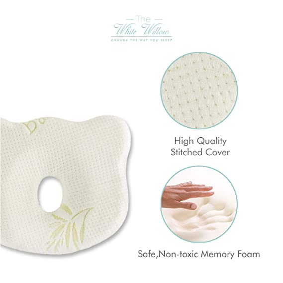 """The White Willow Memory Foam Infant Baby Head Shaping Pillow for Preventing Head for Flat Head Syndrome Ideal for 0-12 Age with Premium Stitched Organic Bamboo Cover -(9.8"""" L X 7.5""""W X 1""""H) White"""