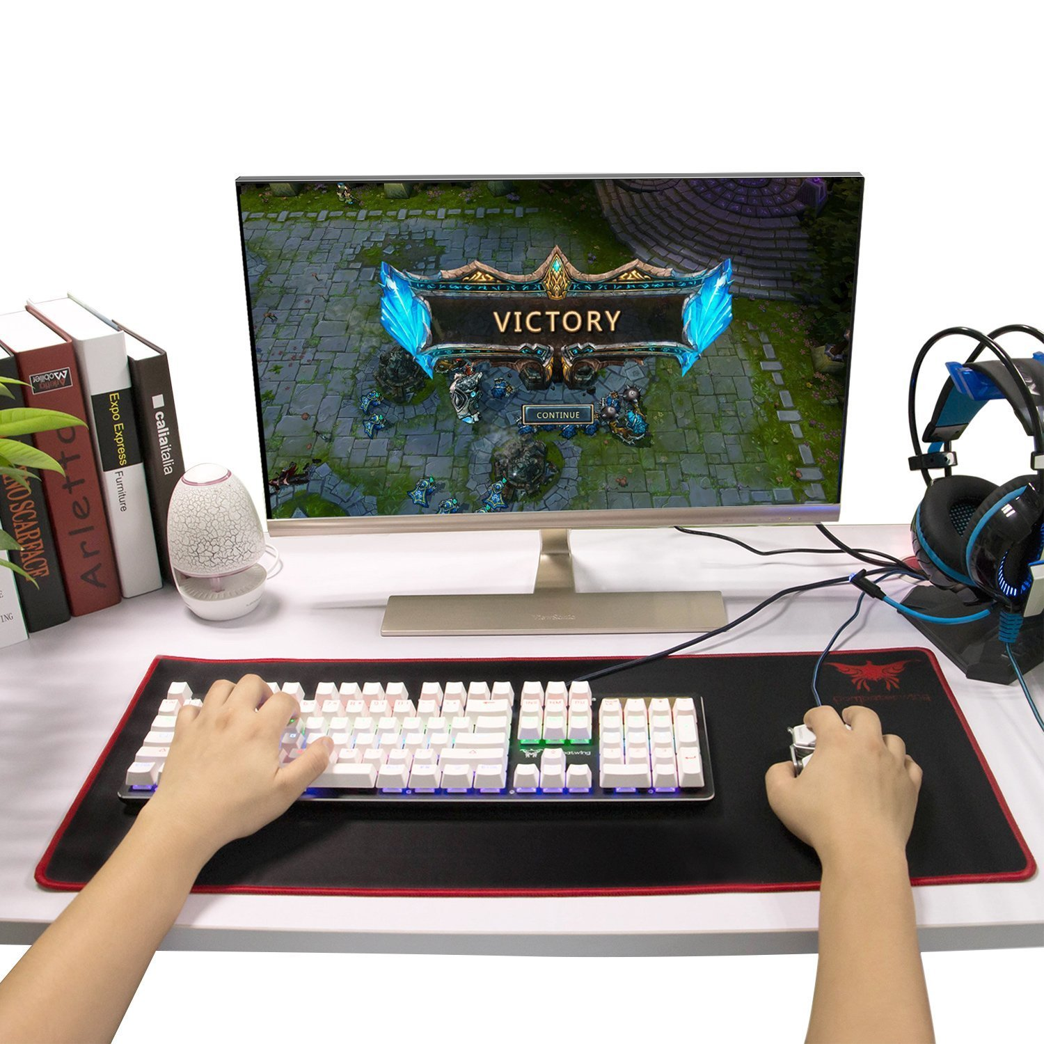 Combaterwing Gaming Mouse Pad, Large Computer Wireless Mouse Mat with Stitched Edges Silky Smooth and Ultra Thick Wide Size 27.56 X 11.81 X 0.08 inches (Black)