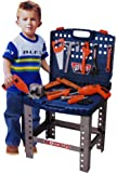Kids 69 Piece Toy Tool Kit Play Set Portable Folding Work Bench Workshop with Drill
