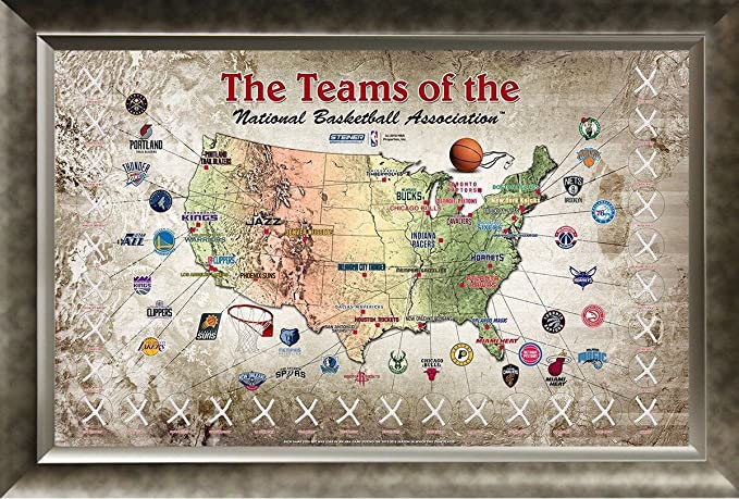 NBA GAME USED NET MAP FRAMED COA - FEATURING AUTHENTIC NET ...