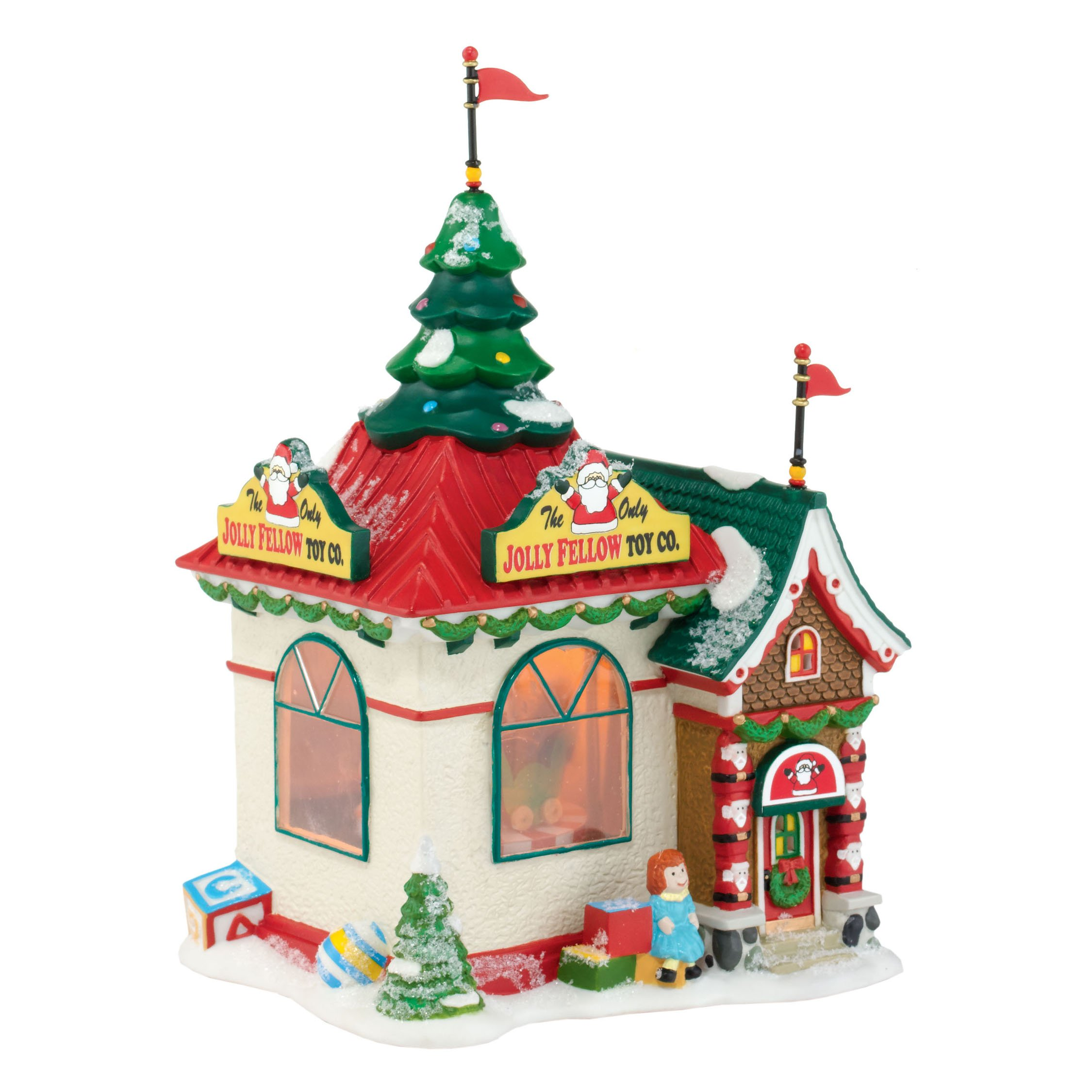 Department 56 North Pole Village Jolly Fellow Toy Lit House, 7.88 inch