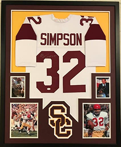 69e03cd4c5f FRAMED OJ O.J. SIMPSON AUTOGRAPHED SIGNED USC TROJANS JERSEY JSA COA ...