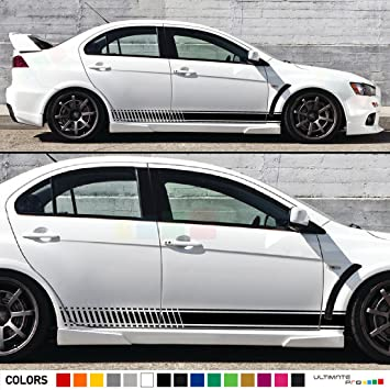 2x decal sticker vinyl side racing stripes compatible with mitsubishi lancer evolution 10 x gsr mr