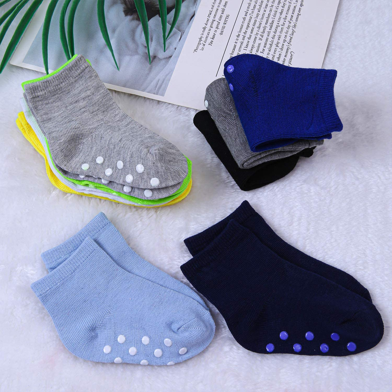 Cooraby 9 Pairs Toddler Non-Skid Socks Baby Boys Non Slip Socks