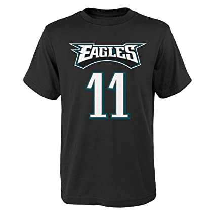 00531959 Carson Wentz Philadelphia Eagles #11 Youth Mainliner Player T-Shirt Black