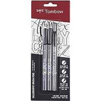 Tombow 62038 Fudenosuke Bolígrafo de pincel, paquete de 2 Punta suave y dura, Negro, Paquete de 3, 1, 3