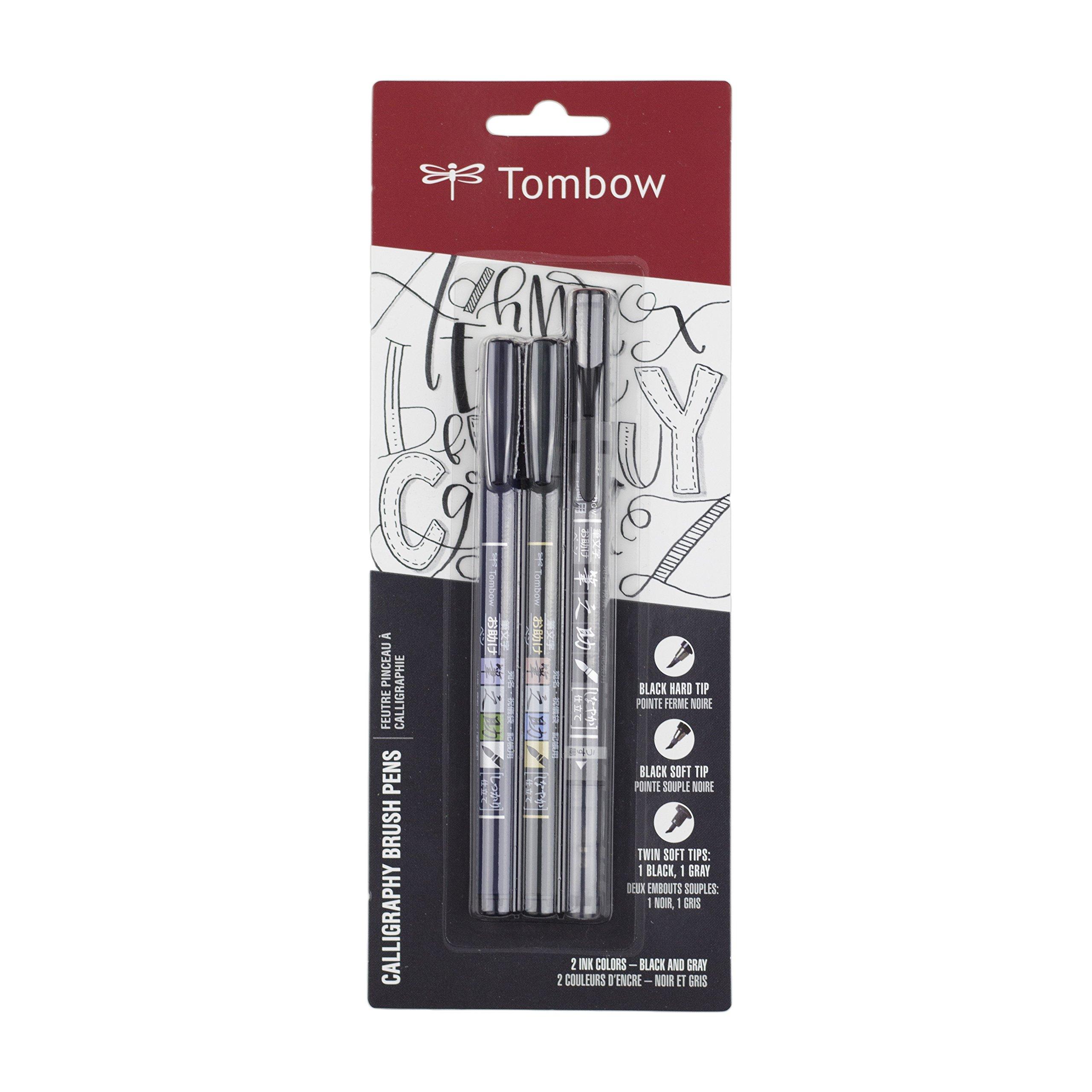 Tombow 62039 Fudenosuke Pen, 3-Pack, Black/Grey