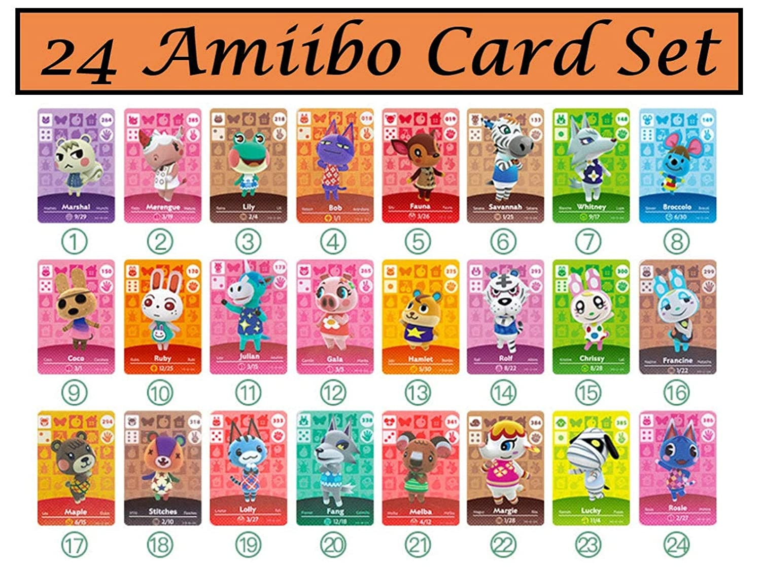 Animal Crossing NFC Tag Mini Amiibo cards 24pcs Rare Character Villager for Switch/Switch Lite/Wii U (with card holder and thumb stick grip caps)