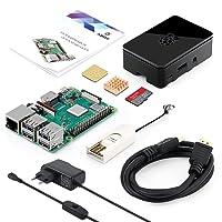 ABOX Raspberry Pi 3 Modèle B Plus (3 B+) Starter Kit【2018 Version Dernière】 32 Go Classe 10 SanDisk Micro SD Carte, 5V 2.5A Alimentation avec Interrupteur Marche/Arrêt Boîtier Noir