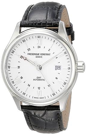 Frederique Constant Hombres del Classics Plata Dial Negro Correa de Cuero Reloj automático Suizo