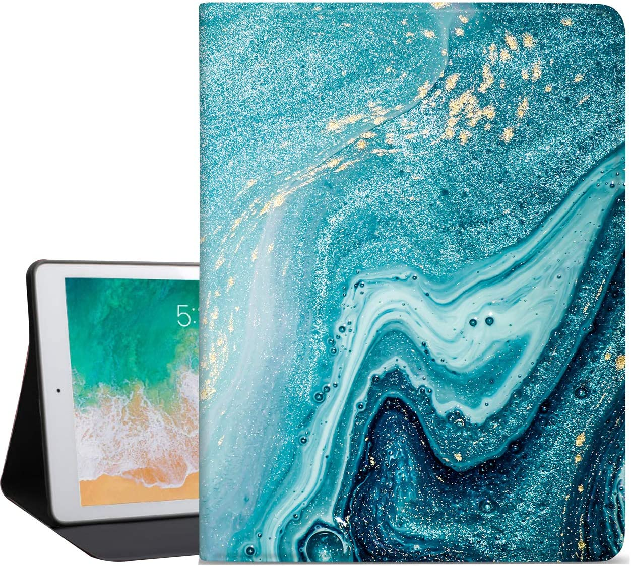 Sahoprt ipad 10.2 Case 2019/2020, ipad 7th/8th Generation Case, Premium Leather Soft TPU Back Smart Protective Cover, Adjustable Stand with Free Angle, Auto Wake/Sleep, Cyan Marble