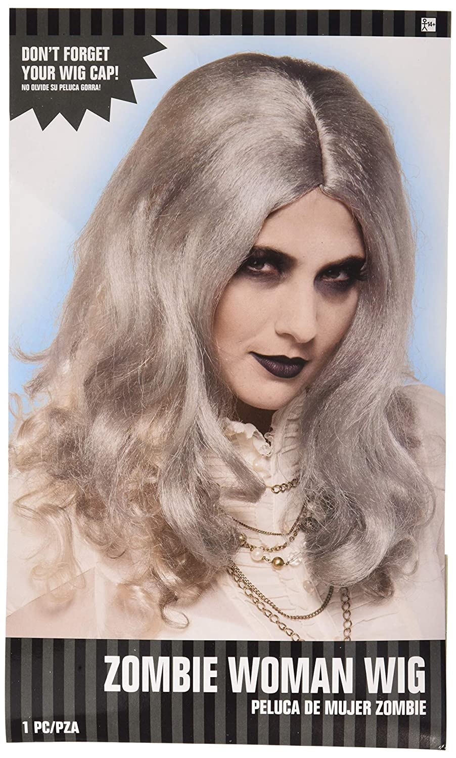 Amscan Zombie Woman Gray Wig Halloween Costume Accessory for Adults, One Size