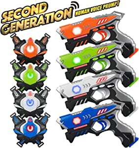 KidPal Laser Tag, Laser Tag Gun with Vest Set 4 Pack for Family Fun, Lazer Tag Game Set with Gun for Kids Boy & Girl Toys Age 6 7 8 9 10 11 12+ Best Choice Infrared Laser Tag Blaster Indoor Outdoor
