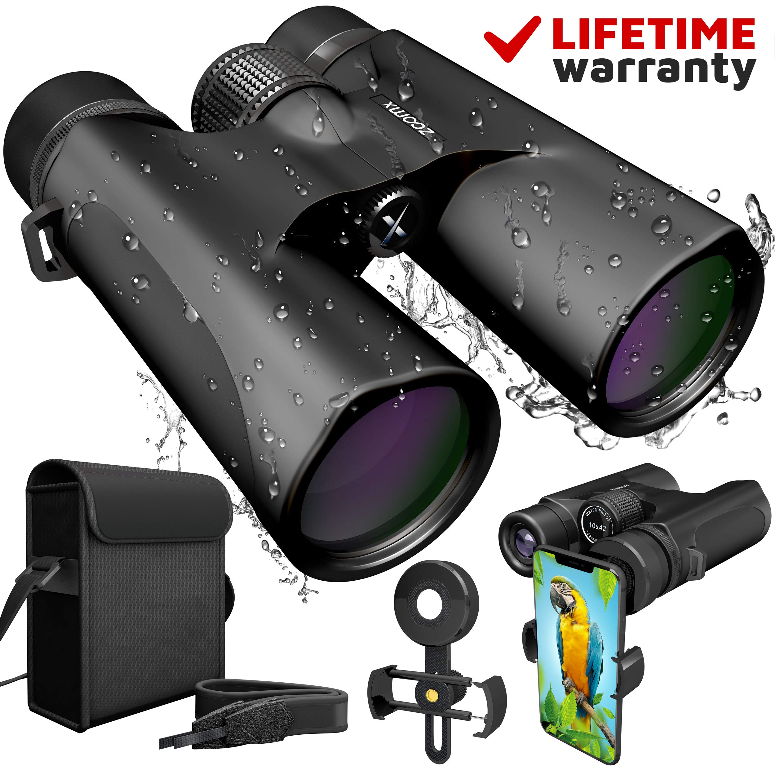 ZoomX Binoculars for Adults. 10x42 Waterproof Lightweight Compact Binocular Prism Bak4. HD Binocular for Bird Watching Hunting Traveling and Sightseeing with Smartphone Adapter, Grey by ZoomX