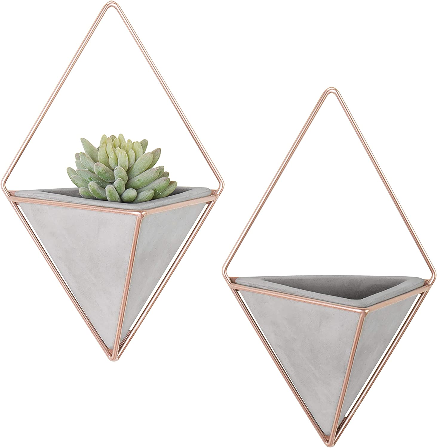 MyGift Set of 2 Triangular Cement Hanging Wall Planters with Rose Gold-Tone Metal Frames