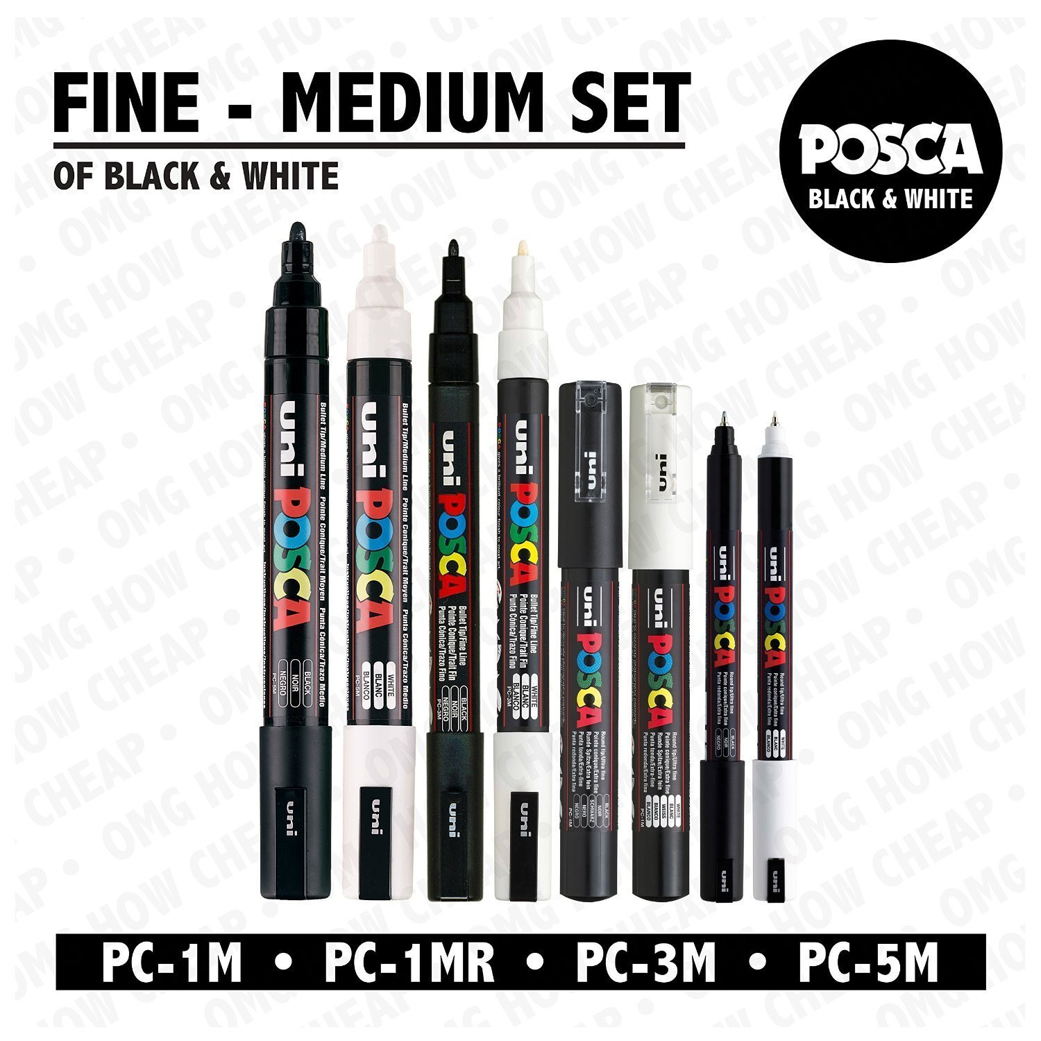 POSCA Black & White - Fine to Medium Set of 8 Pens (PC-5M, PC-3M, PC-1M, PC-1MR) Uni-Ball 4336954294