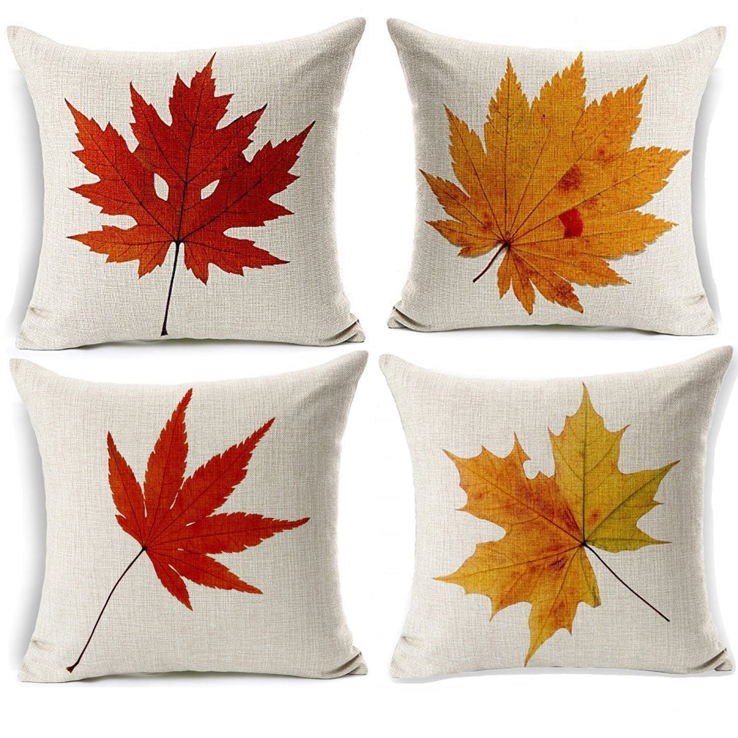 Maple Leaves Throw Pillow Covers - Wonder4 Decorative Fall Decor Colorful Maple Leaves Cushion Decor Autumn Leaf Pillow Cases