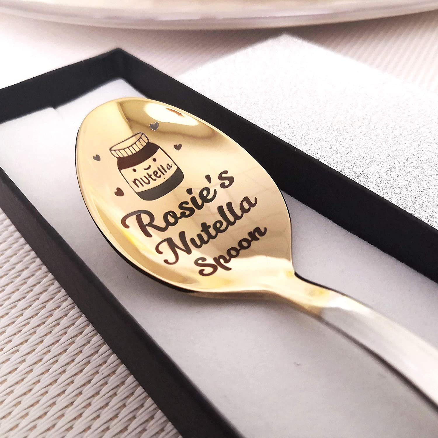 Engraved Spoon Light Engraving with Black Text Nutella Spoon Personalized Girlfriend Gift Hazelnut Cream Spoon