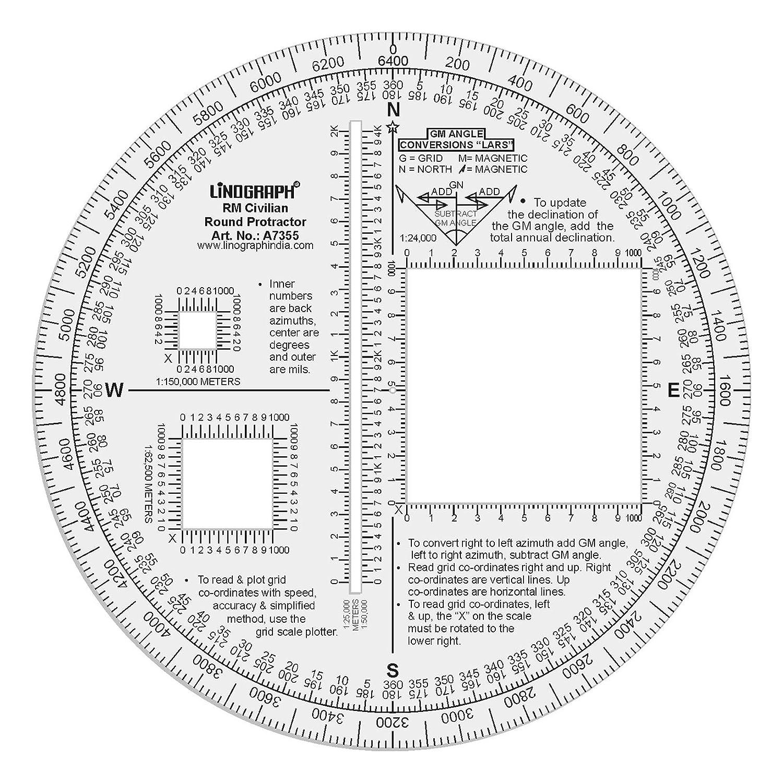 Linograph RM Militaryラウンド分度器Lars Formulated for GM角度変換 B0716G1GG3 デザイン#2