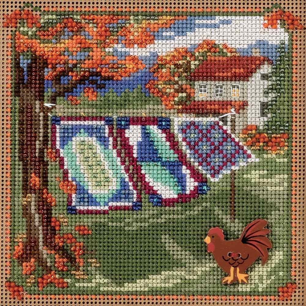 Country Quilts Beaded Counted Cross Stitch Kit Mill Hill MH141621 Buttons /& Beads 2016 Autumn