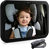 Baby Car Mirror by FORTEM - baby Mirror for Car Rear View Backseat Mirror For Babies and Toddlers in Baby Car Seats - Wide Angle w/ Shatterproof Glass - CRASH TESTED for SAFETY - Bonus Visor Clip