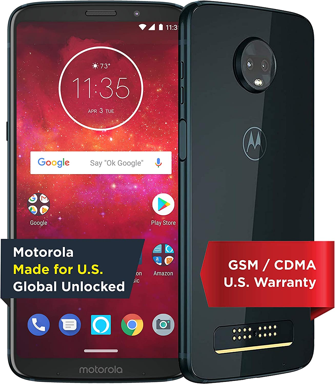Moto Z3 Play with Alexa Hands-Free – 32 GB – Unlocked (AT&T/Sprint/T-Mobile/Verizon) – Deep Indigo – Prime Exclusive