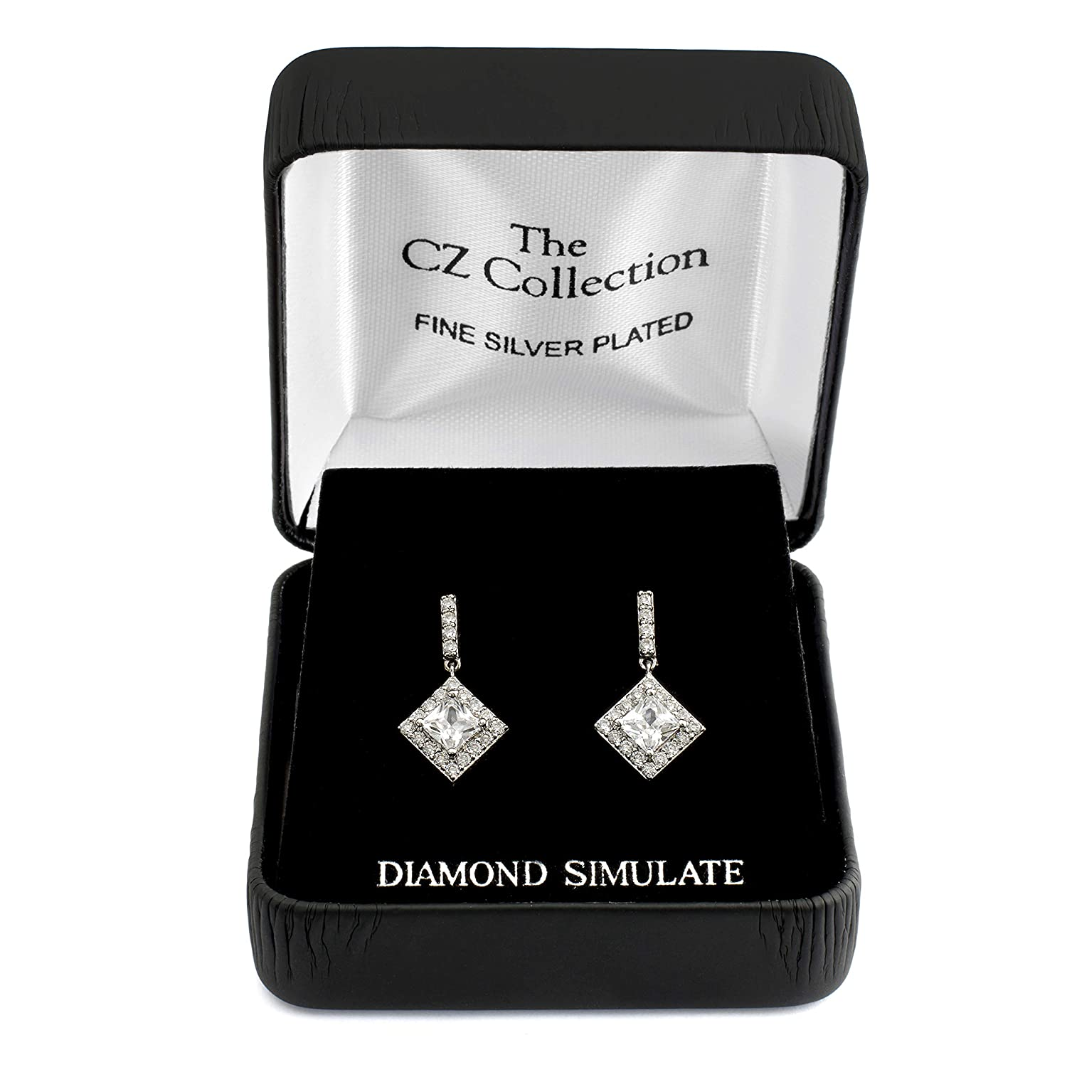 Victoria Townsend 925 Sterling Silver Square Bridal CZ Drop Earrings