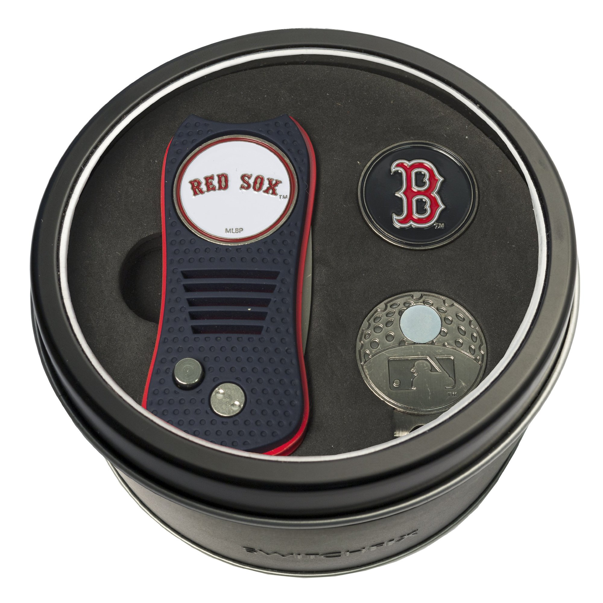 Team Golf MLB Boston Red Sox Gift Set Switchblade Divot Tool, Cap Clip, & 2 Double-Sided Enamel Ball Markers, Patented Design, Less Damage to Greens, Switchblade Mechanism by Team Golf