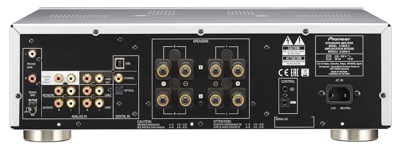 Pioneer A-50DA-S - Amplificador/Transformador estéreo (2 x 90 W, USB D/a analógico, Altavoz a/B-Apagado, función de Entrenamiento), Color Plateado