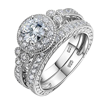 Review Newshe Vintage Wedding Engagement Ring Set For Women Round White Cz 925 Sterling Silver Size 5-10