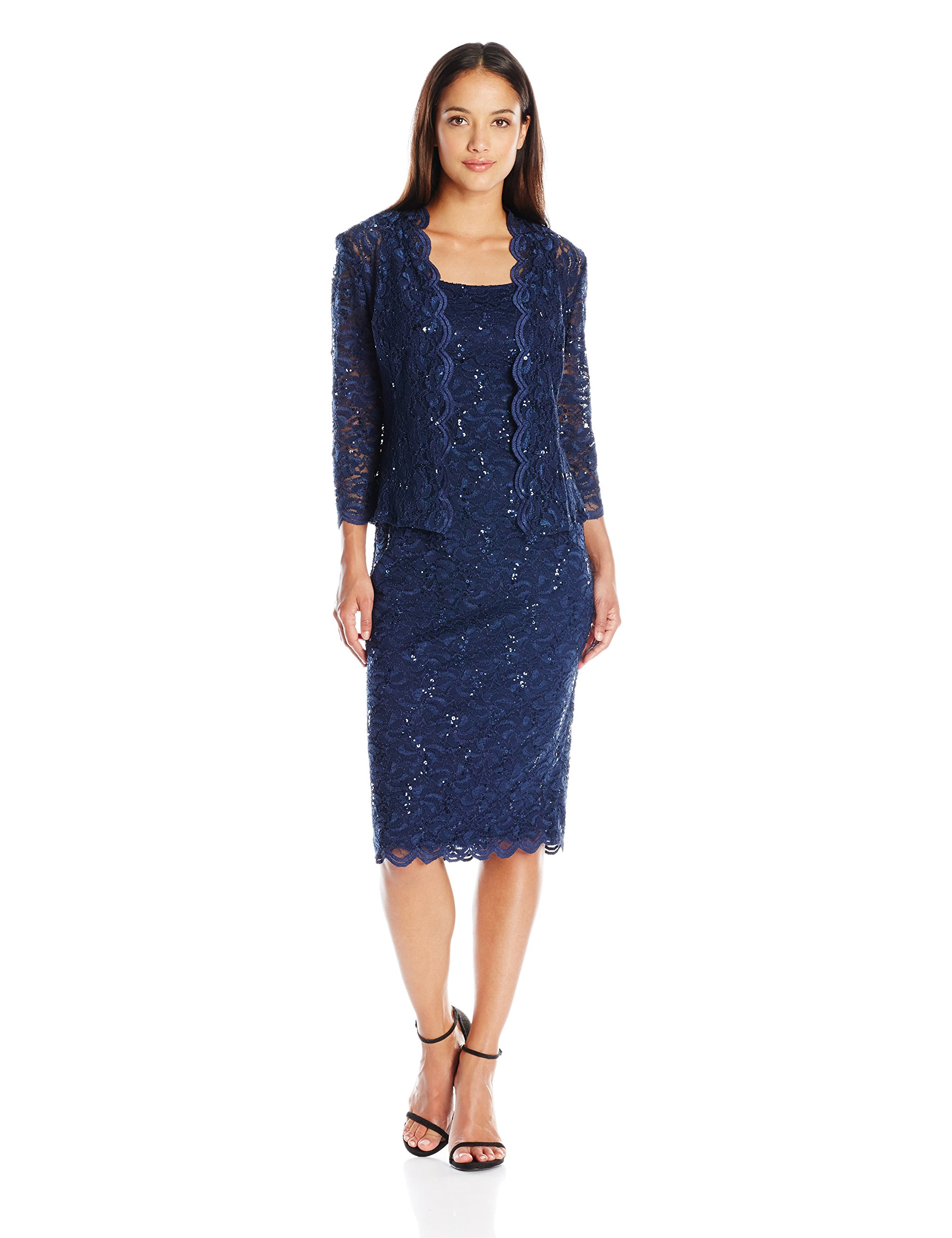 Alex Evenings Women's Two-Piece Set With Dress and Jacket (Regular Sizes), Navy, 10 Petite