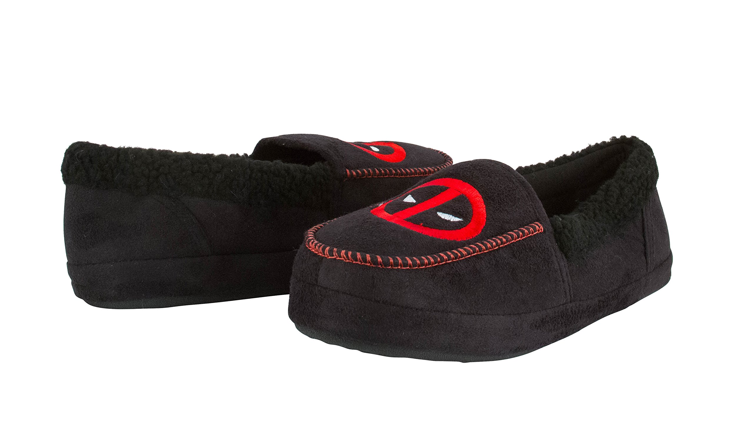 Marvel Deadpool Unisex Fleece Lined Moccasin Slippers With Deadpool Symbol L