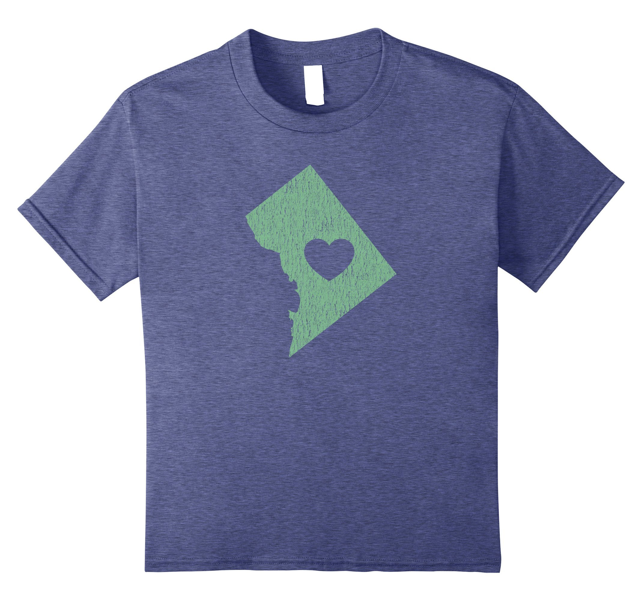 unisex-child Washington D.C. ''Love Heart'' T-Shirt (Gray Green) 12 Heather Blue by Washington DC Shirt / Washington D.C. Gifts (Image #1)