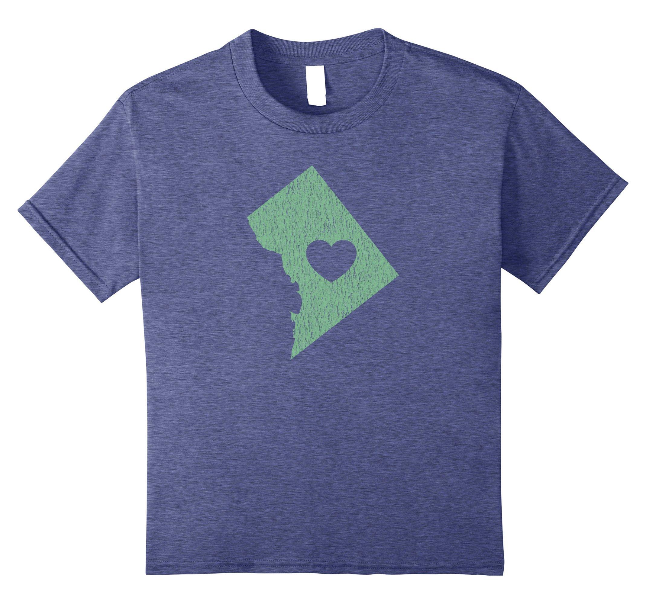 unisex-child Washington D.C. ''Love Heart'' T-Shirt (Gray Green) 12 Heather Blue